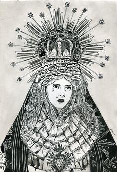 Madonna  ink painting 21x29cm