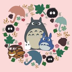 My Neighbor Totoro Wreath - Anime, Catbus, Soot Sprite, Blue Totoro, White Totoro, Mustard, Ochre, Umbrella, Manga, Hayao Miyazaki, Studio Ghibl by CanisPicta