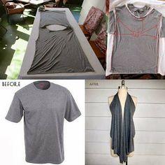 Camiseta Convertida en Prenda de Moda, Reciclaje de Ropa