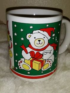 VINTAGE 1988 COFFEE MUG HOLIDAY CHRISTMAS BEAR HOUSTON FOODS FREE SHIPPING in Collectibles | eBay