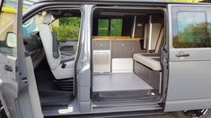 CampingWagon VW conversion specialist, Hampshire - Mr Grey was one of our Seaspray 2 conversion with Hacienda black cabinet work, block oak work top, Titan M1 tested bed & Propex underslung gas system. A Seaspray 2 conversion with a bespoke twist. #VWT5 #VWT6 #camperconversion #poptoproof #modifiedvan