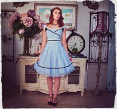 Kitten D'amour Forget Me Not Dress - new vintage - blue lace, black detail, bows, elegant