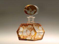 Bohemian Czech Art Deco Amber Hand Cut to Clear Glass Perfume Bottle by K. Palda
