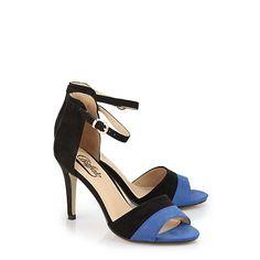 Sandalette Buffalo couleur noir/bleu cobalt