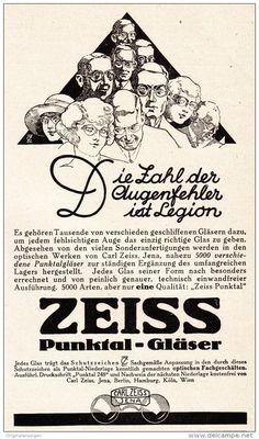 Original-Werbung/ Anzeige 1925 - ZEISS PUNKTAL-GLÄSER / CARL ZEISS JENA  - ca. 90 x 155 mm