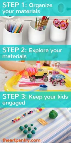 How to set up an art space and engage your kids with creative materials. A step-by-step eGuide with inspiring photos!