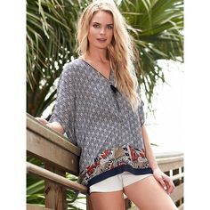 Pia Rossini Aosta One Size Navy Print Cover Up With Tassel Detail