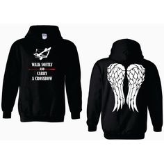 Walk Softly and Carry a Crossbow Daryl Dixon Angel Wings Adult Hoodie... ($35) ❤ liked on Polyvore