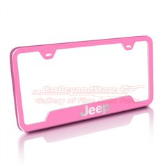 Pink Jeep Accessories | Jeep Pink Stainless Steel License Plate Frame