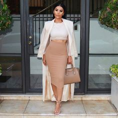 likes classy outfits, chic outfits, classy clothes, beige outfit, n. Autumn Look, Beige Outfit, Skirt Outfits, Chic Outfits, Fashion Outfits, Nude Outfits, Classy Outfits For Women, Clothes For Women, Professional Wear