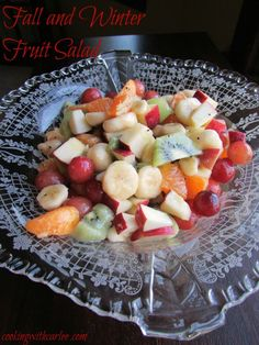 A perfect fruit salad for fall and winter.  Great for a breakfast or brunch, or a good side dish or snack.