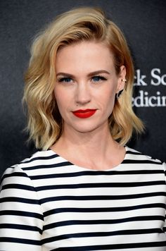 January Jones upgrades her dirty blonde mane with slashes of golden highlights.
