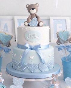 #207 Teddy Bear Baby Shower, Baby Shower Cakes For Boys, Baby Boy Cakes, Baby Shower Decorations For Boys, Baby Shower Cupcakes, Baby Boy Shower, Baby Christening Cakes, Boys 1st Birthday Cake, Babyshower