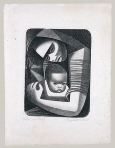 Elizabeth Catlett (Mexican, born United States, 1915-2012), Mother and Child, 1944. Lithograph, sheet:31.4 x 23.8 cm; image:19.7 x 14.6 cm.