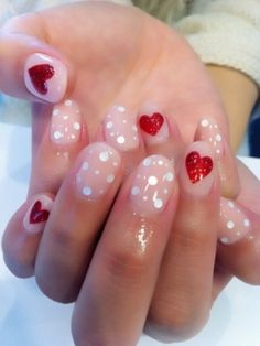Valentines day! Love these nails. Nude, white, and red