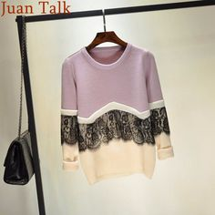 2017 New Spring Fashion Women Lace Sweater Vintage O-Neck Long-Sleeve Basic Pullover Knitted Sweaters