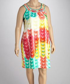 This Yellow & Pink Yoke Shift Dress is such a fun plus-sized dress!  And the price is awesome too!