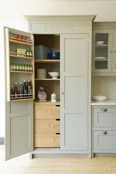 Pantry Cupboard Designs, Small Pantry Cabinet, Kitchen Larder Cupboard, Kitchen Built Ins, Small Kitchen Pantry, Built In Pantry, Kitchen Pantry Design, Kitchen Styling, Stand Alone Kitchen Pantry