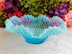 Vintage Fenton Glass Blue Opalescent Hobnail Large Ruffled Bowl