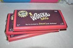 Invitation - Willy Wonka Chocolate bar  and golden ticket. $25.00, via Etsy.