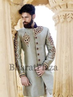 Exclusive aqua color #Indo #Western crafted on jute #Silk with glossy #Cutdana, #Stones, #Diamantes work. Item Code: SIJ6688 www.bharatplaza.com/new-arrivals/mens-indo-western.html