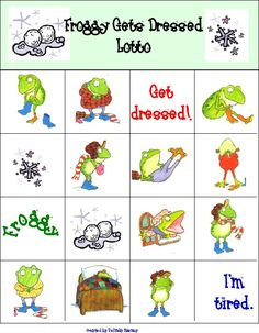 Froggy Gets Dressed Bingo -- Adorable printable Bingo game for kids
