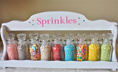 pastell, Sprinkles-sprinkle jars-Spice Rack-pastel sprinkles-cookie sprinkles-jars of sprinkles-spice jars-cupcake sprinkles Cupcake Kitchen Theme, Cupcake Bakery, Kitchen Themes, Vintage Bakery, Vintage Jars, Vintage Kitchen, Bakery Kitchen, Home Bakery, Pastel Kitchen