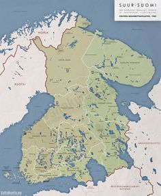An alternative outcome for Finland if the Finno-Soviet wars and World War II had gone differently Historical Pictures, Historical Maps, Iconic Photos, Old Photos, History Of Finland, Imaginary Maps, Map Pictures, Lappland, Alternate History