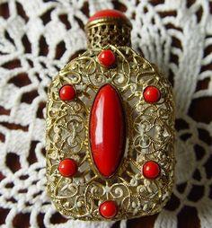 1920's Czecho Czech Red Coral Stones Brass Overlay Perfume Bottle w Dauber   eBay