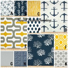 Custom Crib Bedding You Design   Bumper and Bedskirt in Navy,Yellow and Gray on Etsy, $229.00