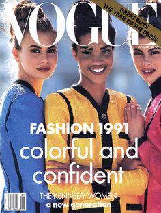 Vogue US, January 1991 Models : Niki Taylor, Stephanie Roberts & Audrey Benoit