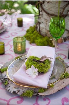 irish theme table decorations, moss - Google Search