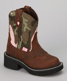 Take a look at this Brown & Pink Camo Aged Bark Cowboy Boot on zulily today!