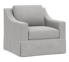 Big Sur Slope Arm Slipcovered Swivel Armchair, Down Blend Wrapped Cushions, Sunbrella(R) Performance Chenille Fog Armchair Slipcover, Furniture Slipcovers, Upholstered Arm Chair, Swivel Armchair, Outdoor Furniture, Deep Seat Cushions, Patio Cushions, Free Interior Design, Interior Design Services
