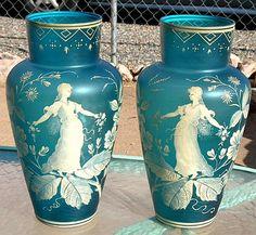 2 Antique Glass Vase Pair Cameo B OFFER Stevens Webb Bohemian Enameled 13x7   eBay