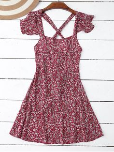Ruffles Tiny Floral Cross Back Dress - RED S