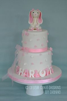 'CHARLOTTE' ~ Snuggle Bunny 2 tier cake with a pretty scattered blossom design 2 Tier Cake, Tiered Cakes, Naming Ceremony, Dream Cake, Baby Shower Gender Reveal, Centre Pieces, Celebration Cakes, Celebrity Weddings, Beautiful Cakes