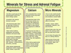 """Minerals for """"Stress and Adrenal Fatigue. Here's a simple chart outlining minerals, calcium and magnesium as well as several micro minerals to help support the adrenal glands. Fatigue Causes, Chronic Fatigue Syndrome Diet, Chronic Fatigue Symptoms, Chronic Pain, Chronic Anemia, Chronic Illness, Adrenal Glands, Adrenal Fatigue, Adrenal Burnout"""