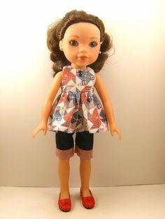 """Made To Fit Hearts For Hearts, Kish, Betsy McCall, Corolle Les Cheries 14"""" Dolls Sleeveless Top and Shorts"""