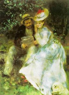 Claude Monet with his wife Camille and their Maltese dog by Renoir