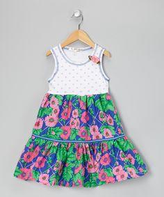 Blue Floral Dress - Infant, Toddler & Girls