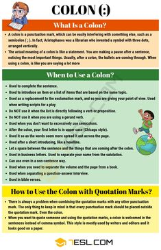 Most of the times, the Colon (:) symbol is misunderstood, due to every culture and the way it is used for those cultures. Usually, Latin relatives languages (Ea Essay Writing Skills, English Writing Skills, Book Writing Tips, Writing Words, Teaching Writing, English Lessons, English Resources, Study Skills, Writing Practice