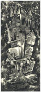 Isaura, etching by Colleen Corradi Brannigan (from Citta Invisibili)