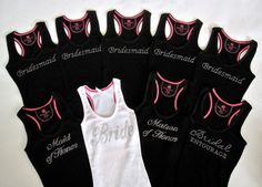 9 Bridesmaid Tank Top Shirts. Bride, Maid of Honor, Matron of Honor. Purple, Black, White, Yellow, Pink, Blue, Purple