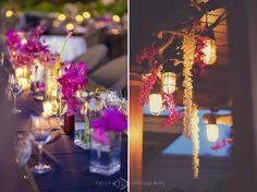 Random placement centerpieces, hanging garlands, Flowers by Heidi, Four Seasons Resort Hualalai