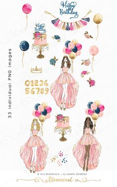 A glam fashion graphics collection featuring a birthday girl holding balloons and dressed up as a queen in a beautiful couture dress. Birthday related artworks include balloons, couture cake, flowers, buntings, gold glitter painted balloon numbers, gold crown and glitter confetti. The cliparts are hand drawn and painted by me. You will receive 33 individual graphics to create your own design arrangement and layout. The clip art set is perfect for planner stickers, planner dashboard…