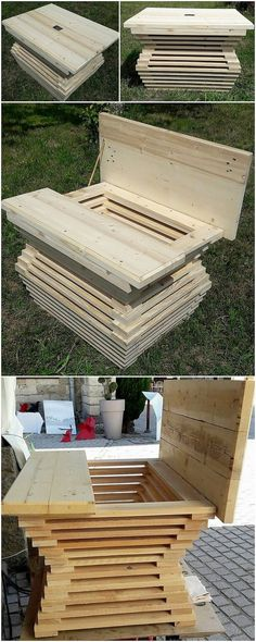 Arrange few dismantle form of the wood pallet planks that is customized into different shapes and sizes. Put them together on top of the each other that would come up with the table design with the storage space infusion taste in it. It would come about to be so attractive looking and inspiring.