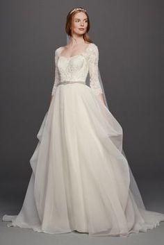 Oleg Cassini Organza 3/4 Sleeved Wedding Dress - Davids Bridal
