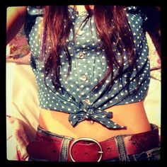 blue belly shirt with hearts. <3 I would totally wear one if I had a flat tan stomach