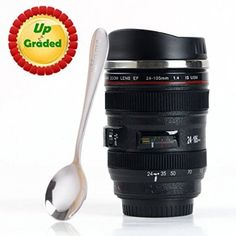 Coffee Mug - Camera Lens Travel Thermos - Stainless Steel Insulated Cup with Easy Clean Lid - - Black - Go with Premium Stainless Steel Spoon Bonus_uHome >>> Additional details at the pin image, click it : Cat mug